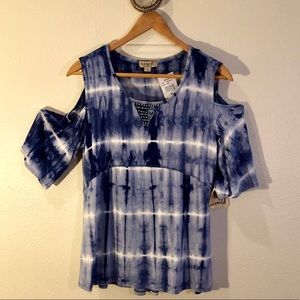 NWT boho blue tie-dyed OneWorld top SZ:PS